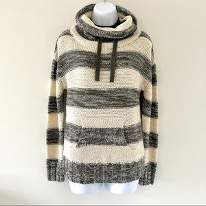 Poof! Cowl Neck Striped Sweater